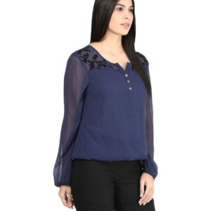 Casual Full Sleeves Solid Girls Net Top