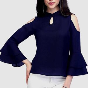 Casual Cold Shoulder 3/4th 2 Layered Bell Sleeves Solid Girls Top