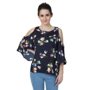 Casual Cold Shoulder 3/4th Sleeves Printed Girls Top