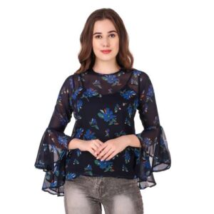 Casual 3/4th Bell Sleeves Printed Girls Top