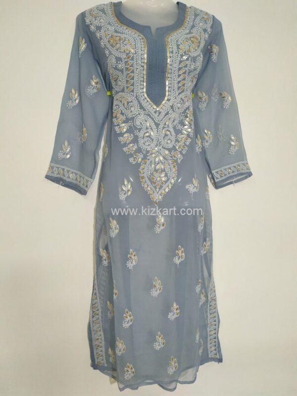 Lucknowi Chikankari Kurti Grey Colour Georgette Febric Beautiful Design