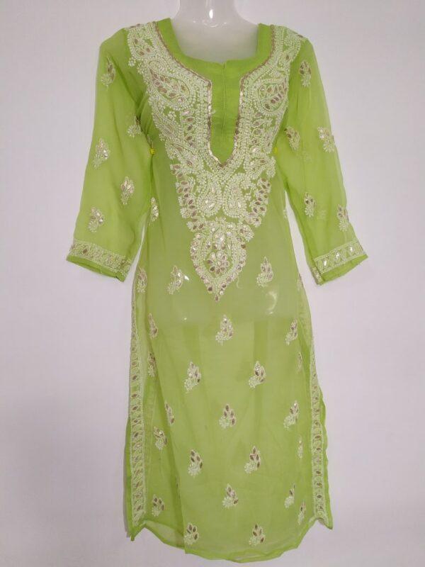 Lucknowi Chikankari Kurti Lime Colour Georgette Febric Beautiful Design