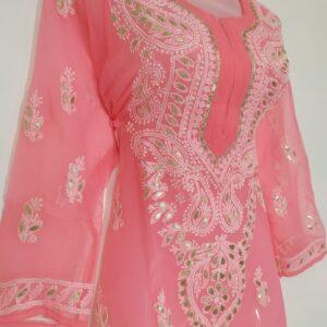 Lucknowi Chikankari Kurti Pink Colour Georgette Febric Beautiful Design