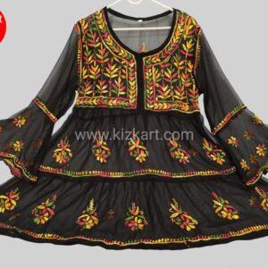 Black chikankari short kurti /gown georgette women