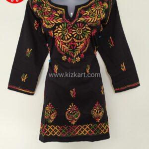 Black Short Chikankari Kurti Cotton Hand Embroidered